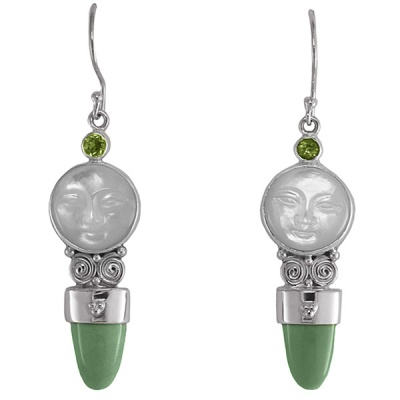 Mother of Pearl Goddess Earrings with Peridot and Variscite