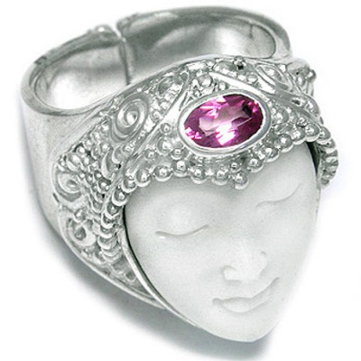Goddess Ring with Passion Pink Topaz