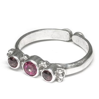 Pink Tourmaline Ring with Garnet