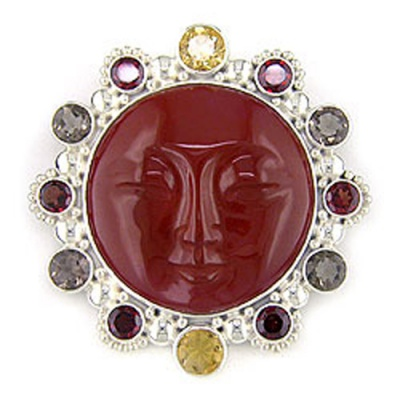 Red Jasper Goddess, Smoky Quartz, Citrine & Garnet Pin-Pendant