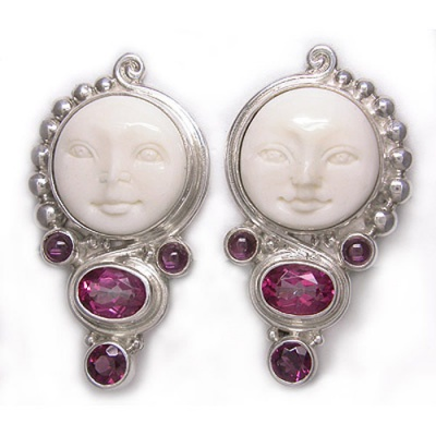 Goddess Clip on Earrings with Passion Pink Topaz and Rhodolite