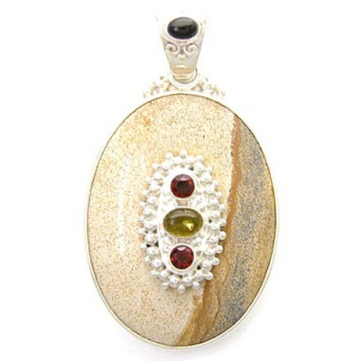 Picture Jasper Pendant with Amber, Garnet and Black Star